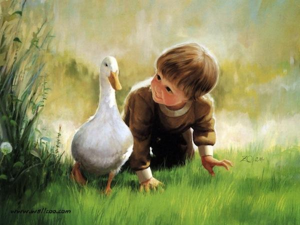 طفل يراقب أوزة، براءة الأطفال